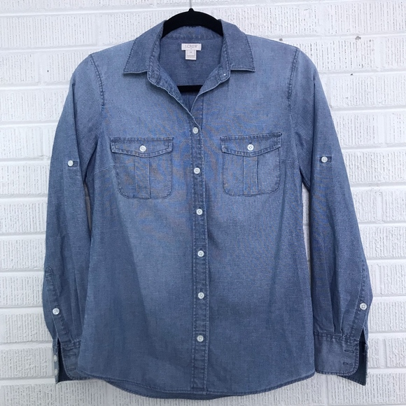 012774bb7a5 J. Crew Factory Tops | J Crew Classic Chambray Shirt In Perfect Fit ...